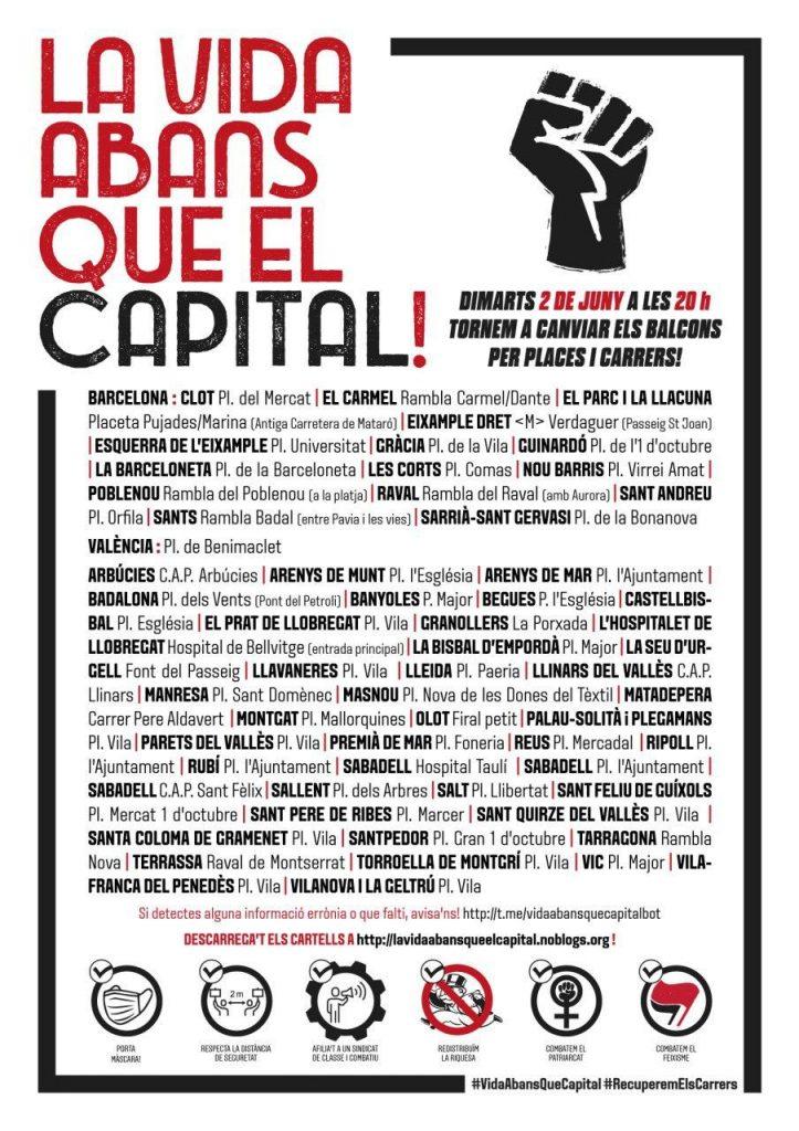 """Totes les convocatòries del 2 de juny per les concentracions """"La Vida abans que el Capital"""""""